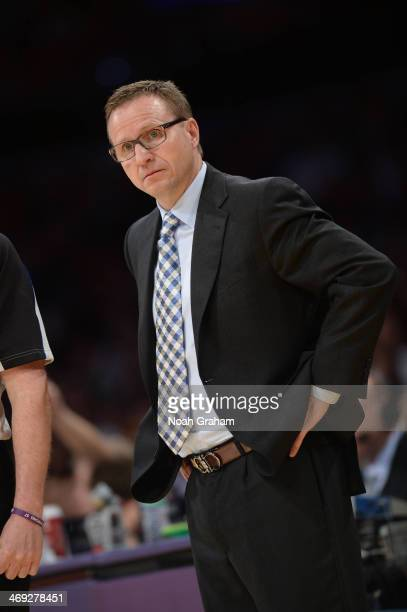 Head coach Scott Brooks of the Oklahoma City Thunder looks on during a game against the Los Angeles Lakers at Staples Center on February 13 2014 in...