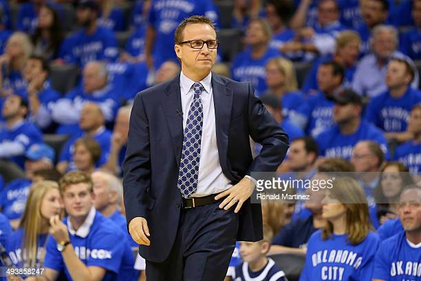 Head coach Scott Brooks of the Oklahoma City Thunder looks on in the first quarter against the San Antonio Spurs during Game Three of the Western...