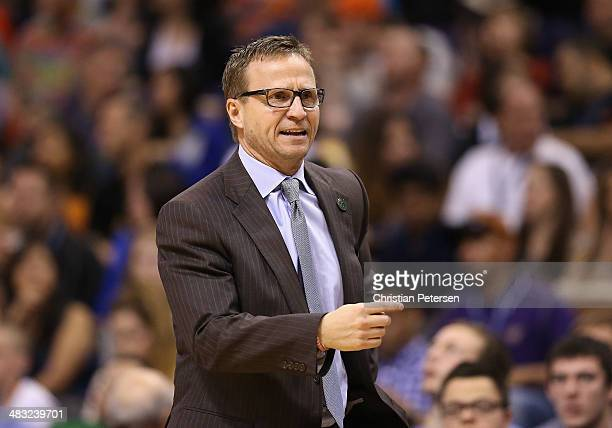 Head coach Scott Brooks of the Oklahoma City Thunder reacts during the NBA game against the Phoenix Suns at US Airways Center on April 6 2014 in...