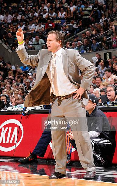 Head coach Scott Brooks of the Oklahoma City Thunder reacts in Game Two of the Western Conference Finals between the Oklahoma City Thunder and the...