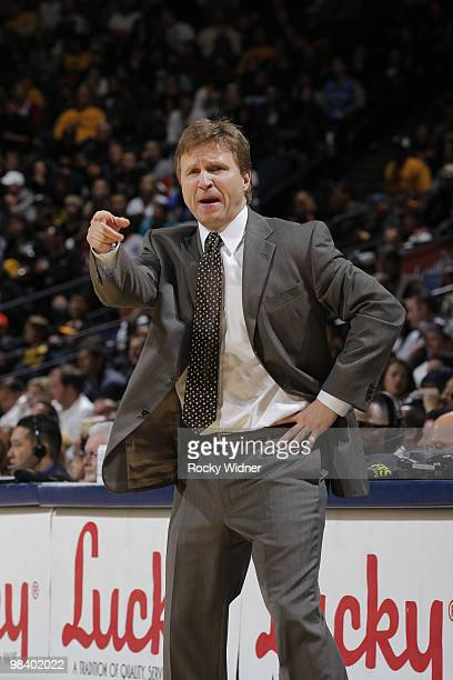 Head Coach Scott Brooks of the Oklahoma City Thunder shouts instructions to his team in a game against the Golden State Warriors on April 11 2010 at...