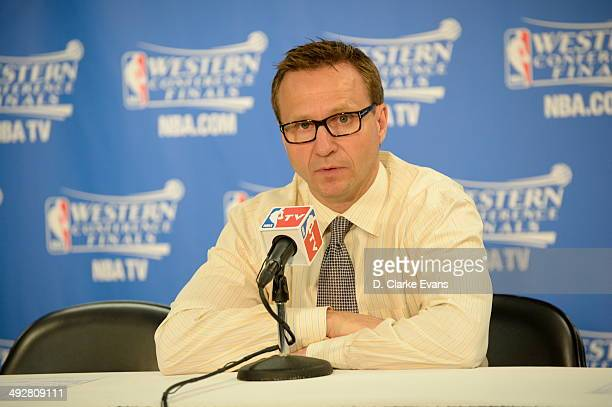 Head Coach Scott Brooks of the Oklahoma City Thunder speaks with the media after the game against The San Antonio Spurs in Game Two of the Western...