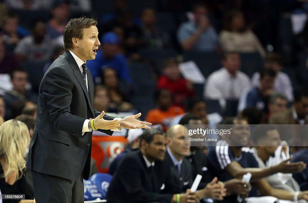 Head coach Scott Brooks of the Oklahoma City Thunder yells to his team during their game against the Charlotte Bobcats at Time Warner Cable Arena on March 8, 2013 in Charlotte, North Carolina.