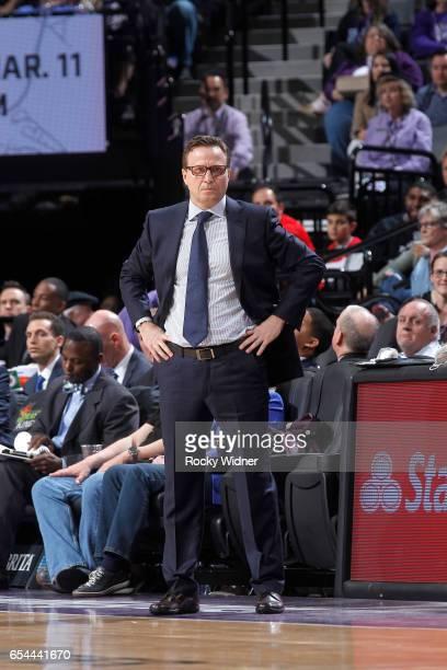 Head coach Scott Brooks of the Washington Wizards coaches against the Sacramento Kings on March 10 2017 at Golden 1 Center in Sacramento California...