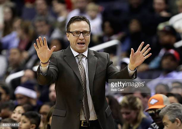 Head coach Scott Brooks of the Washington Wizards looks on against the Memphis Grizzlies at Verizon Center on January 18 2017 in Washington DC NOTE...