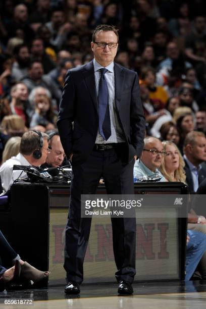 Head Coach Scott Brooks of the Washington Wizards looks on during a game against the Cleveland Cavaliers on March 25 2017 at Quicken Loans Arena in...