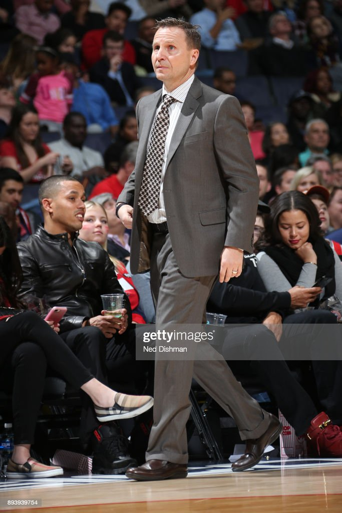 Head Coach Scott Brooks of the Washington Wizards looks on during the game against the Memphis Grizzlies on December 13, 2017 at Capital One Arena in Washington, DC.