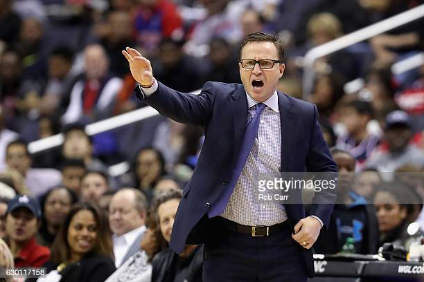 Head coach Scott Brooks of the Washington Wizards motions from the sidelines against the Detroit Pistons at Verizon Center on December 16 2016 in...