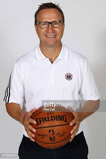 Head coach Scott Brooks of the Washington Wizards poses during media day at Verizon Center on September 26 2016 in Washington DC NOTE TO USER User...