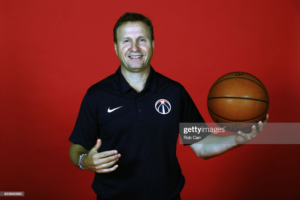 Head coach Scott Brooks of the Washington Wizards poses during media day at Capital One Arena on September 25, 2017 in Washington, DC.