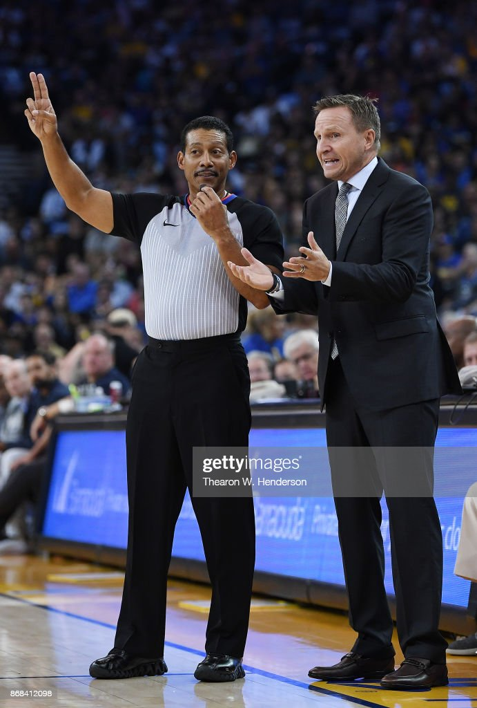 Head coach Scott Brooks of the Washington Wizards reacts to a call by Referee Bill Kennedy #55 during an NBA basketball game against the Golden State Warriors at ORACLE Arena on October 27, 2017 in Oakland, California.
