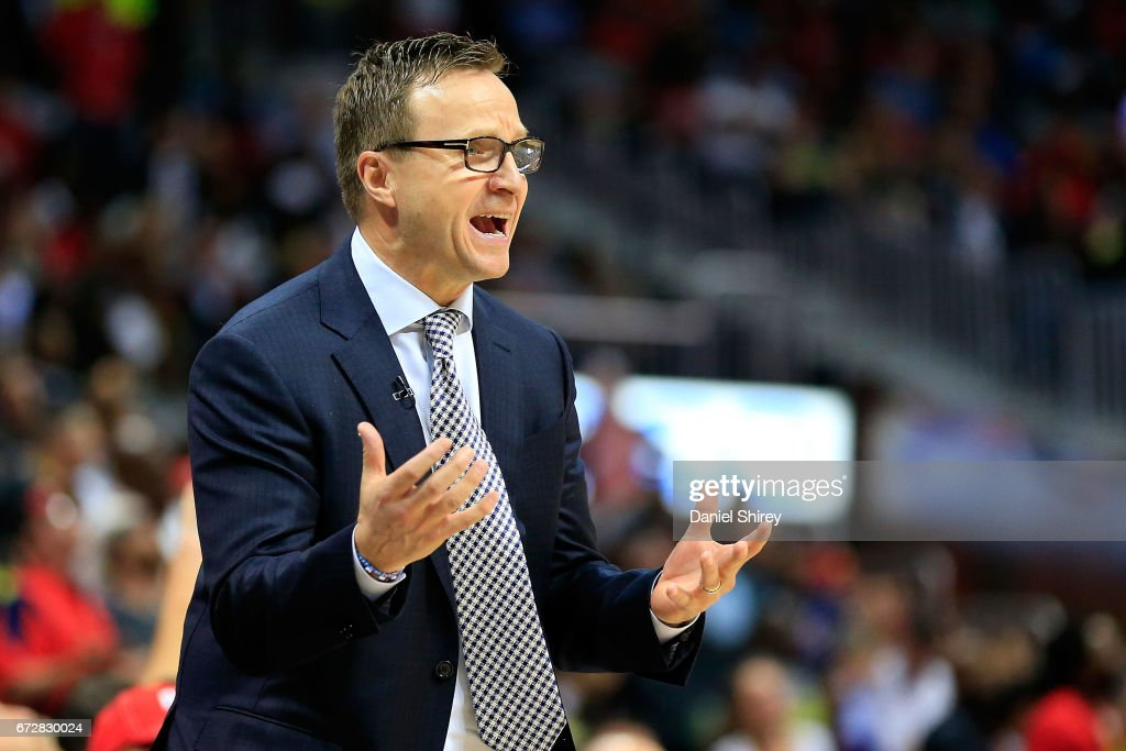 Head coach Scott Brooks of the Washington Wizards reacts to a play during the fourth quarter against the Atlanta Hawks in Game Four of the Eastern Conference Quarterfinals during the 2017 NBA Playoffs at Philips Arena on April 24, 2017 in Atlanta, Georgia.