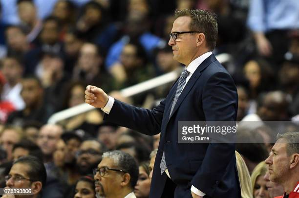 Head coach Scott Brooks of the Washington Wizards watches the game in the fourth quarter against the Boston Celtics in Game Three of the Eastern...
