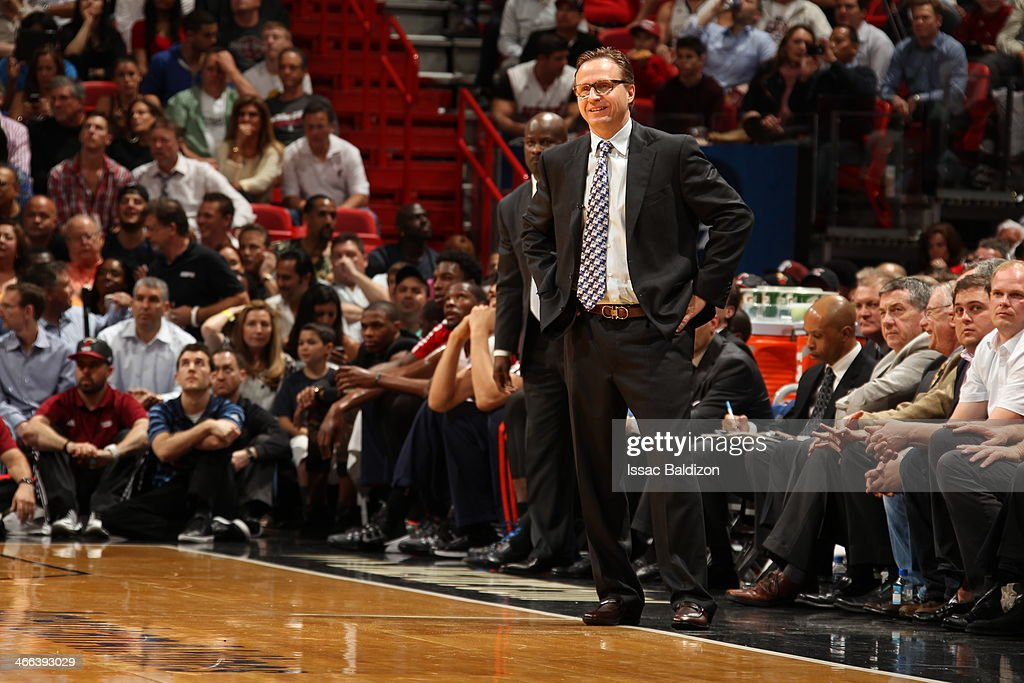 Head coach <a gi-track='captionPersonalityLinkClicked' href=/galleries/search?phrase=Scott+Brooks&family=editorial&specificpeople=620053 ng-click='$event.stopPropagation()'>Scott Brooks</a> stands on the sideline against the Miami Heat at the American Airlines Arena in Miami, Florida on Jan. 29, 2014.