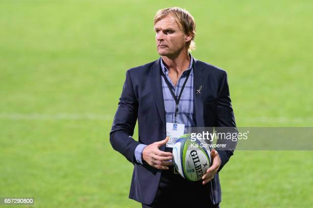Head Coach Scott Robertson of the Crusaders looks on prior to the round five Super Rugby match between the Crusaders and the Force at AMI Stadium on...