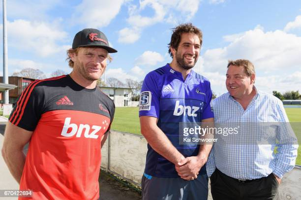 Head Coach Scott Robertson of the Crusaders Samuel Whitelock of the Crusaders and All Black Head Coach Steve Hansen look on during a Crusaders media...