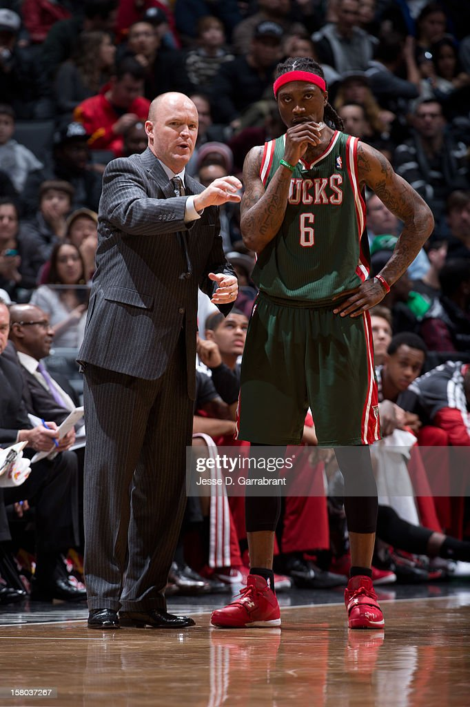 Head coach Scott Skiles and Marquis Daniels #6 of the Milwaukee Bucks look on during the game against the Brooklyn Nets at the Barclays Center on December 9, 2012 in Brooklyn, New York.