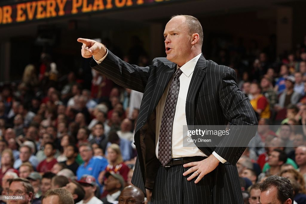 Head coach Scott Skiles of the Milwaukee Bucks reacts on the sideline during the game against the Cleveland Cavaliers on March 31, 2010 at Quicken Loans Arena in Cleveland, Ohio. The Cavaliers won 101-98.