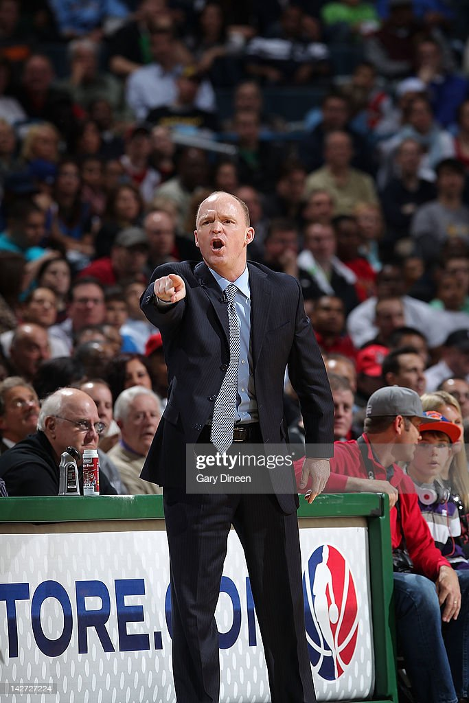 Head Coach <a gi-track='captionPersonalityLinkClicked' href=/galleries/search?phrase=Scott+Skiles&family=editorial&specificpeople=209278 ng-click='$event.stopPropagation()'>Scott Skiles</a> of the Milwaukee Bucks yells from the sideline during the game against the New York Knicks on April 11, 2012 at the Bradley Center in Milwaukee, Wisconsin.