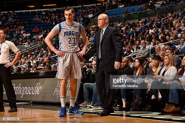 Head Coach Scott Skiles of the Orlando Magic talks with Mario Hezonja of the Orlando Magic during the game against the Phoenix Suns on March 4 2016...