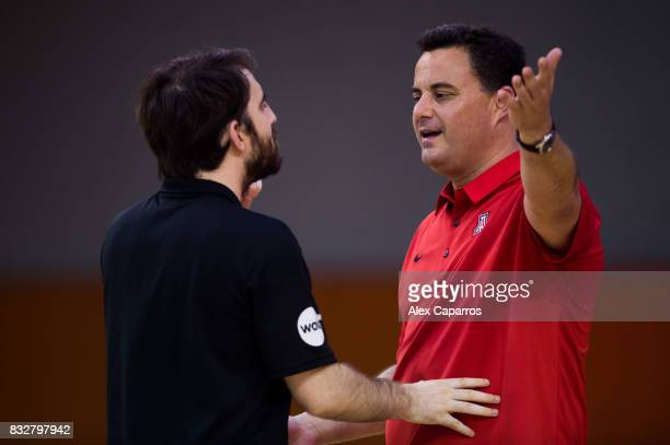 Head Coach Sean Miller of the Arizona Wildcats argues with the official during the Arizona In Espana Foreign Tour game between Mataro AllStars and...
