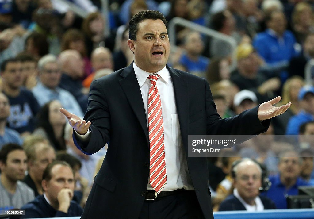 Head coach Sean Miller of the Arizona Wildcats gestures during the game with the UCLA Bruins at Pauley Pavilion on March 2, 2013 in Los Angeles, California. UCLA won 74-69.
