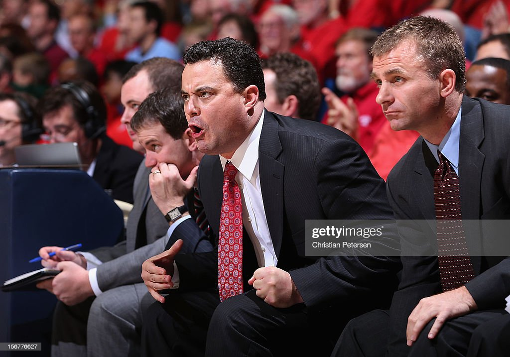 Head coach Sean Miller of the Arizona Wildcats reacts during the college basketball game against the Long Beach State 49ers at McKale Center on November 19, 2012 in Tucson, Arizona. The Wildcats defeated the 49ers 94-72.