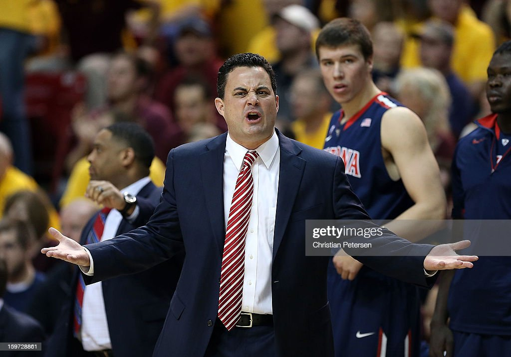 Head coach Sean Miller of the Arizona Wildcats reacts during the college basketball game against the Arizona State Sun Devils at Wells Fargo Arena on January 19, 2013 in Tempe, Arizona. The Wildcats defeated the Sun Devils 71-54.