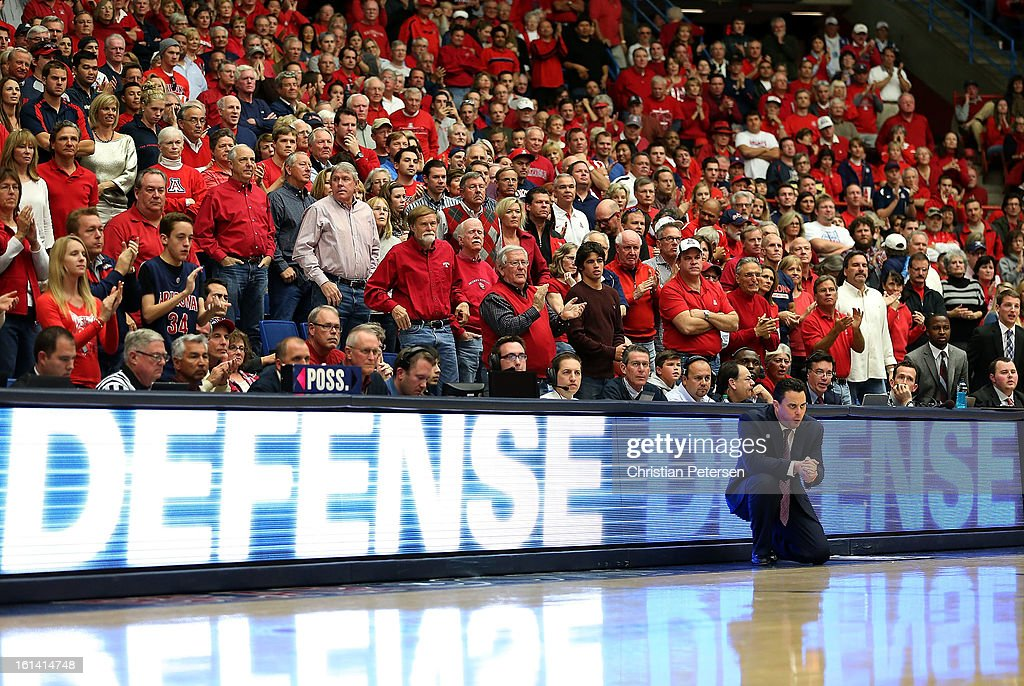 Head coach Sean Miller of the Arizona Wildcats reacts during the college basketball game against the California Golden Bears at McKale Center on February 10, 2013 in Tucson, Arizona. The Golden Bears defeated the Wildcats 77-69.