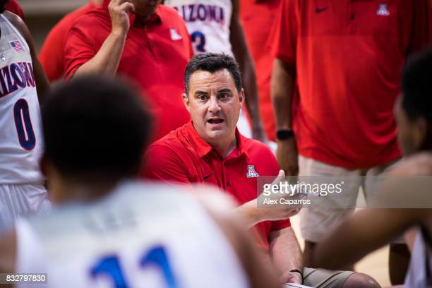 Head Coach Sean Miller of the Arizona Wildcats talks to his players during the Arizona In Espana Foreign Tour game between Mataro AllStars and...