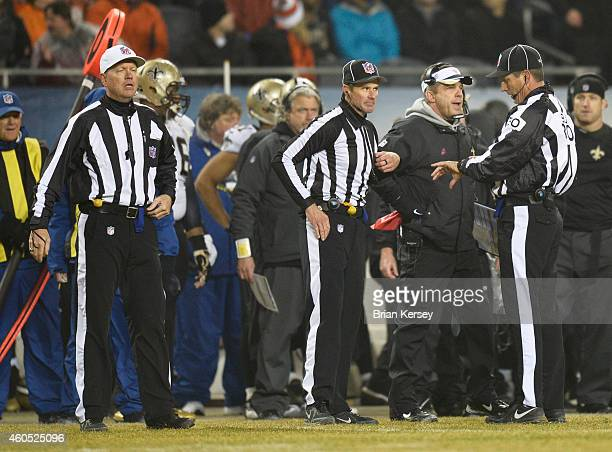 Head coach Sean Payton of the New Orleans Saints challenges a call during the second quarter of a game against the Chicago Bears at Soldier Field on...