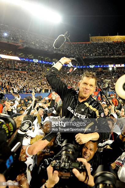 Head coach Sean Payton of the New Orleans Saints gets carried off the field by his team after defeating the Indianapolis Colts in Super Bowl XLIV on...