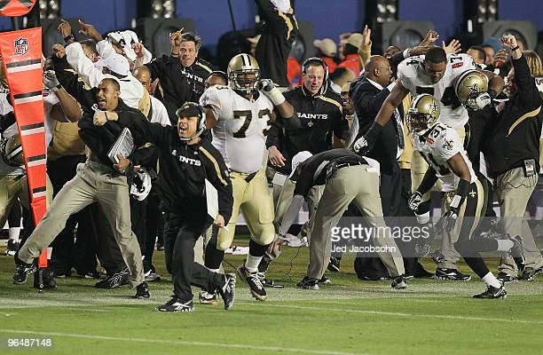 Head coach Sean Payton of the New Orleans Saints reacts to Tracy Porter's interception of Peyton Manning of the Indianapolis Colts for a touchdown in...