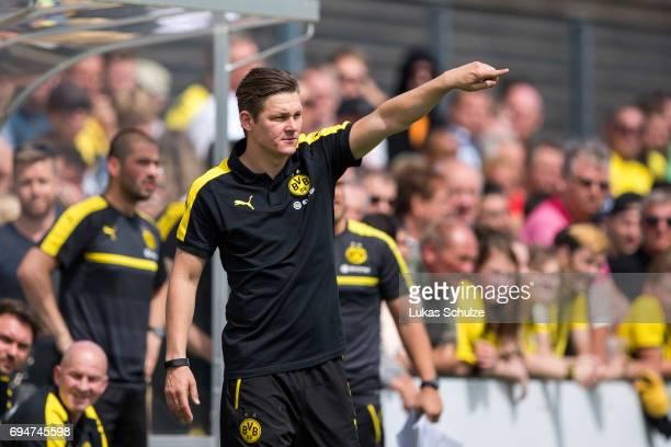 Head Coach Sebastian Geppert of Dortmund gestures during the B Juniors German Championship Semi Final match between Borussia Dortmund and Werder...