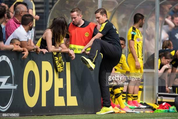 Head Coach Sebastian Geppert of Dortmund has to leave the pitch during the B Juniors German Championship Semi Final match between Borussia Dortmund...