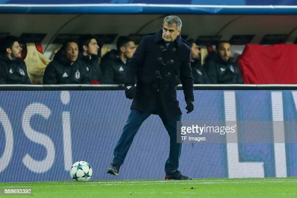 Head coach Senol Guenes of Besiktas controls the ball during the UEFA Champions League group G soccer match between RB Leipzig and Besiktas at the...