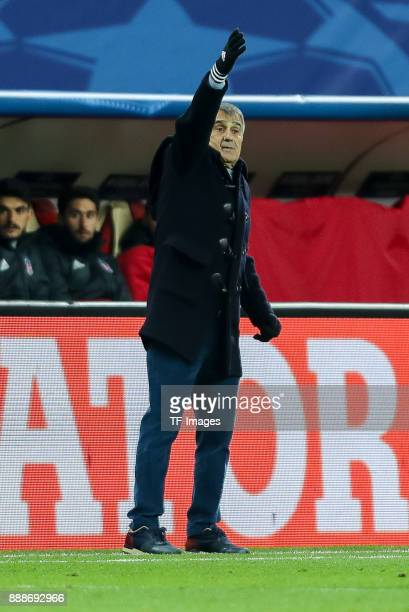 Head coach Senol Guenes of Besiktas gestures during the UEFA Champions League group G soccer match between RB Leipzig and Besiktas at the Leipzig...