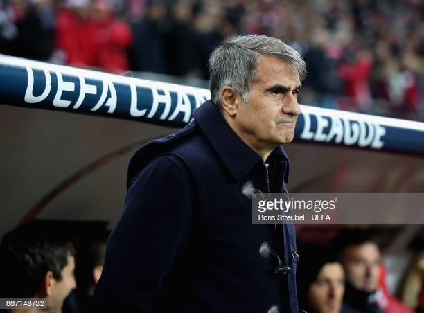 Head coach Senol Guenes of Besiktas Istanbul looks on during the UEFA Champions League group G match between RB Leipzig and Besiktas at Red Bull...