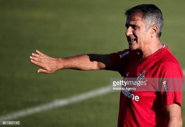 Head coach Senol Gunes of Besiktas leads a training session of the team in Marbella Spain on July 23 2017 Besiktas team arrived in Spain for a...