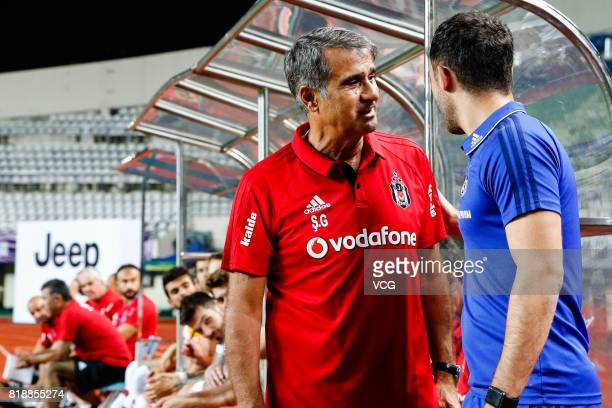 Head Coach Senol Gunes of Besiktas speaks with Head coach Domenico Tedesco of FC Schalke 04 prior to the 2017 International soccer match between...