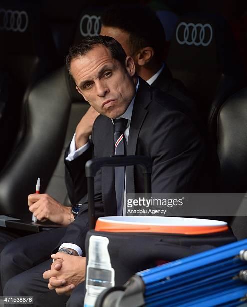 Head coach Sergi Barjuan of Almeria UD seen during the La Liga match between Real Madrid CF and UD Almeria at Estadio Santiago Bernabeu on April 29...