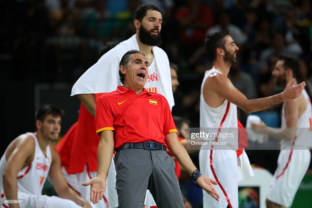 Head coach Sergio Scariolo of Spain reacts from the sideline during the Men's Semifinal match against United States on Day 14 of the Rio 2016 Olympic...