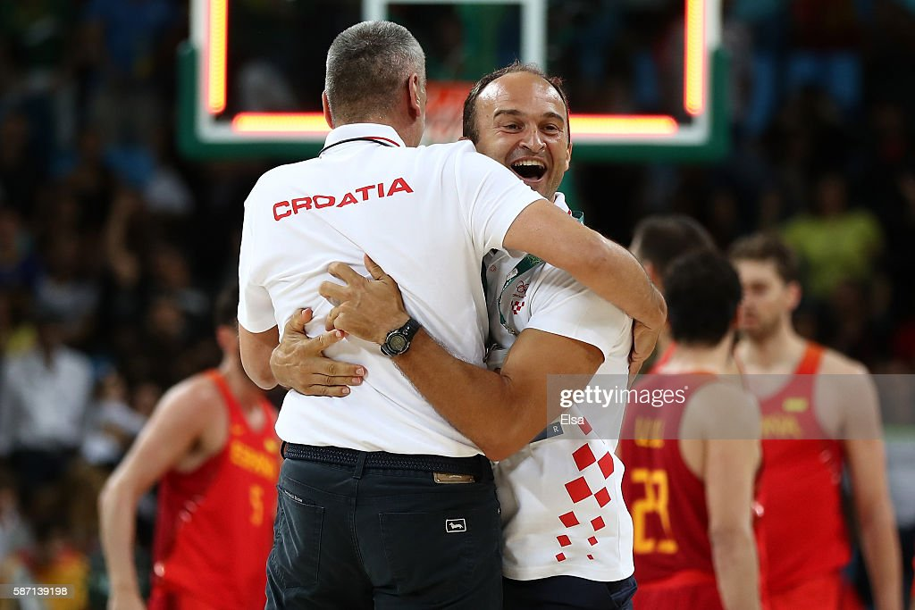 Head coach Sergio Scariolo reacts after defeating Spain during a Men's preliminary round basketball game between Croatia and Spain on Day 2 of the Rio 2016 Olympic Games at Carioca Arena 1 on August 7, 2016 in Rio de Janeiro, Brazil.