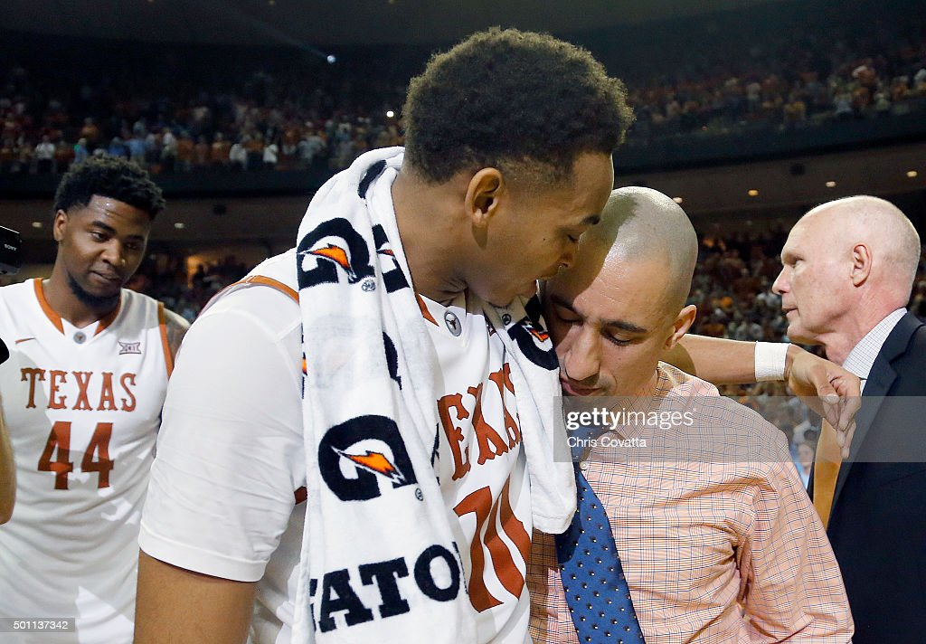 Head coach <a gi-track='captionPersonalityLinkClicked' href=/galleries/search?phrase=Shaka+Smart&family=editorial&specificpeople=6845771 ng-click='$event.stopPropagation()'>Shaka Smart</a> of the Texas Longhorns and Eric Davis Jr. #10 of the Texas Longhorns react as there team defeats the North Carolina Tar Heels at the Frank Erwin Center on December 12, 2015 in Austin, Texas.