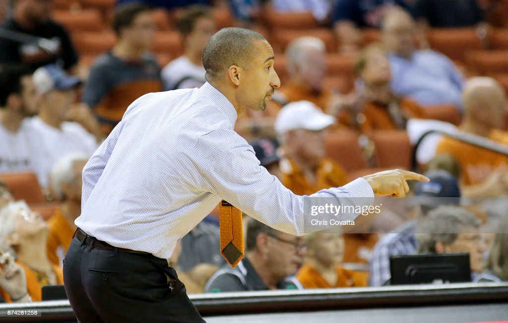 Head coach Shaka Smart of the Texas Longhorns gives direction to his team during the game with the New Hampshire Wildcats at the Frank Erwin Center on November 14, 2017 in Austin, Texas.