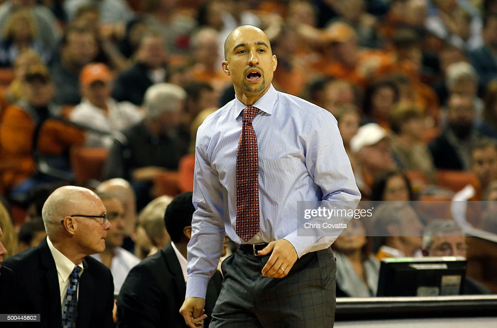 Head coach <a gi-track='captionPersonalityLinkClicked' href=/galleries/search?phrase=Shaka+Smart&family=editorial&specificpeople=6845771 ng-click='$event.stopPropagation()'>Shaka Smart</a> of the Texas Longhorns reacts as his team plays the Samford Bulldogs at the Frank Erwin Center on December 4, 2015 in Austin, Texas.