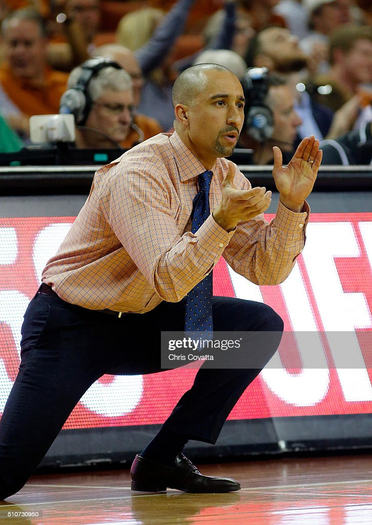 Head coach <a gi-track='captionPersonalityLinkClicked' href=/galleries/search?phrase=Shaka+Smart&family=editorial&specificpeople=6845771 ng-click='$event.stopPropagation()'>Shaka Smart</a> of the Texas Longhorns reacts as his team plays the West Virginia Mountaineers at the Frank Erwin Center on February 16, 2016 in Austin, Texas.