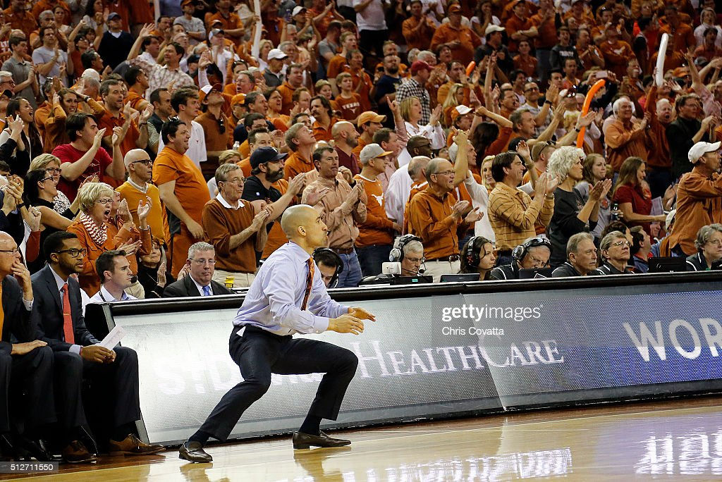 Head coach <a gi-track='captionPersonalityLinkClicked' href=/galleries/search?phrase=Shaka+Smart&family=editorial&specificpeople=6845771 ng-click='$event.stopPropagation()'>Shaka Smart</a> of the Texas Longhorns reacts as his team defeats the Oklahoma Sooners 76-63 at the Frank Erwin Center on February 27, 2016 in Austin, Texas.