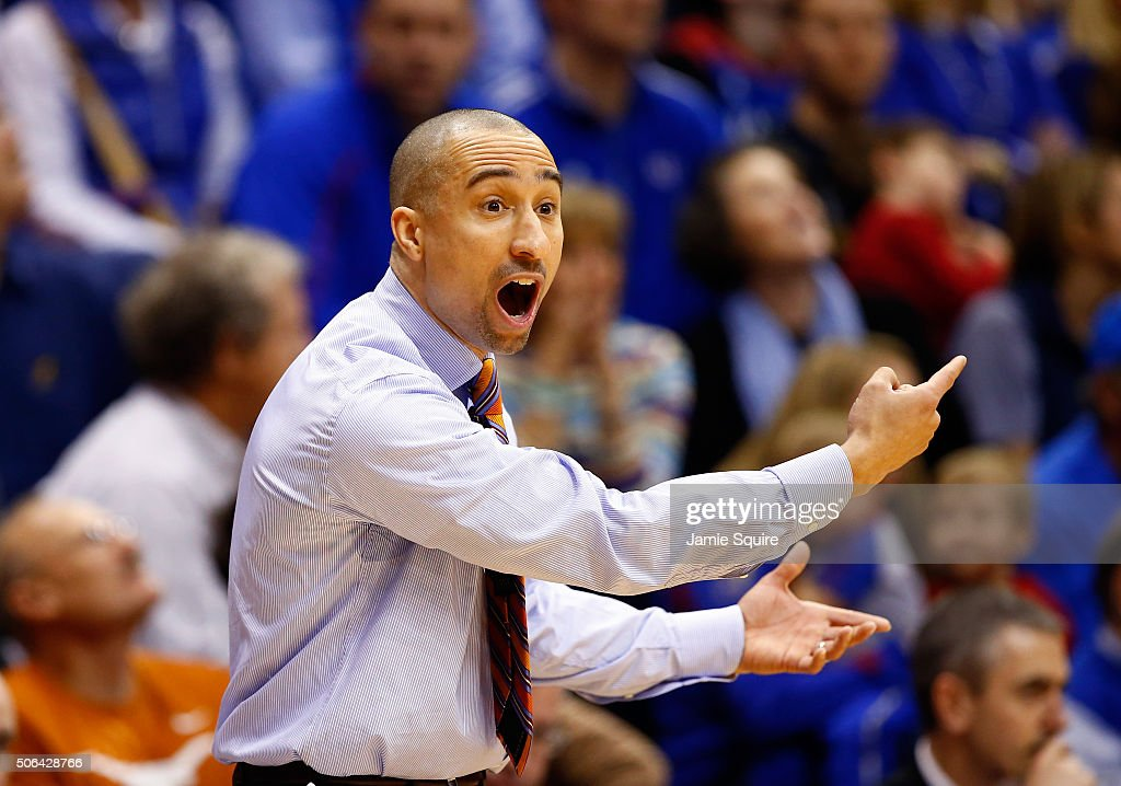 Head coach <a gi-track='captionPersonalityLinkClicked' href=/galleries/search?phrase=Shaka+Smart&family=editorial&specificpeople=6845771 ng-click='$event.stopPropagation()'>Shaka Smart</a> of the Texas Longhorns reacts from the bench during the game against the Kansas Jayhawks at Allen Fieldhouse on January 23, 2016 in Lawrence, Kansas.