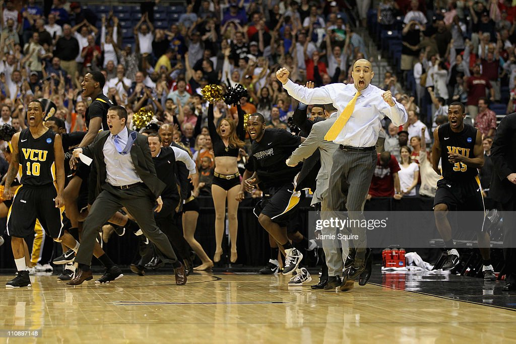Head coach Shaka Smart of the Virginia Commonwealth Rams celebrates after defeating the Florida State Seminoles during the southwest regional of the 2011 NCAA men's basketball tournament at the Alamodome on March 25, 2011 in San Antonio, Texas.